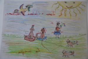 Adoro questo disegno. Laura ha partecipato con serenità e spensieratezza all'educazione della sua cucciola Niky
